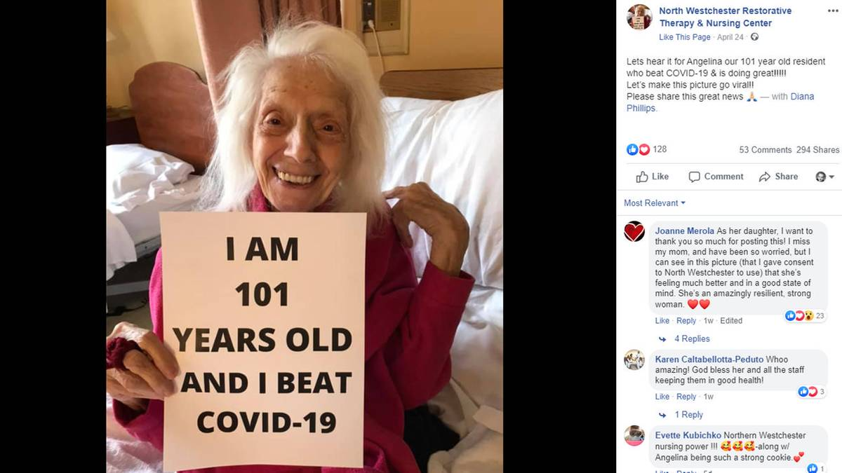 101-Year-old woman survives Covid disease and has now survived two pandemics